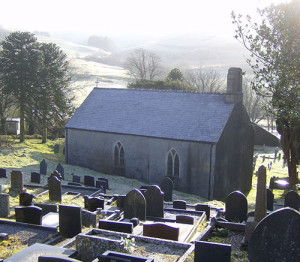 The church at Ysbyty Cynfyn in winter.